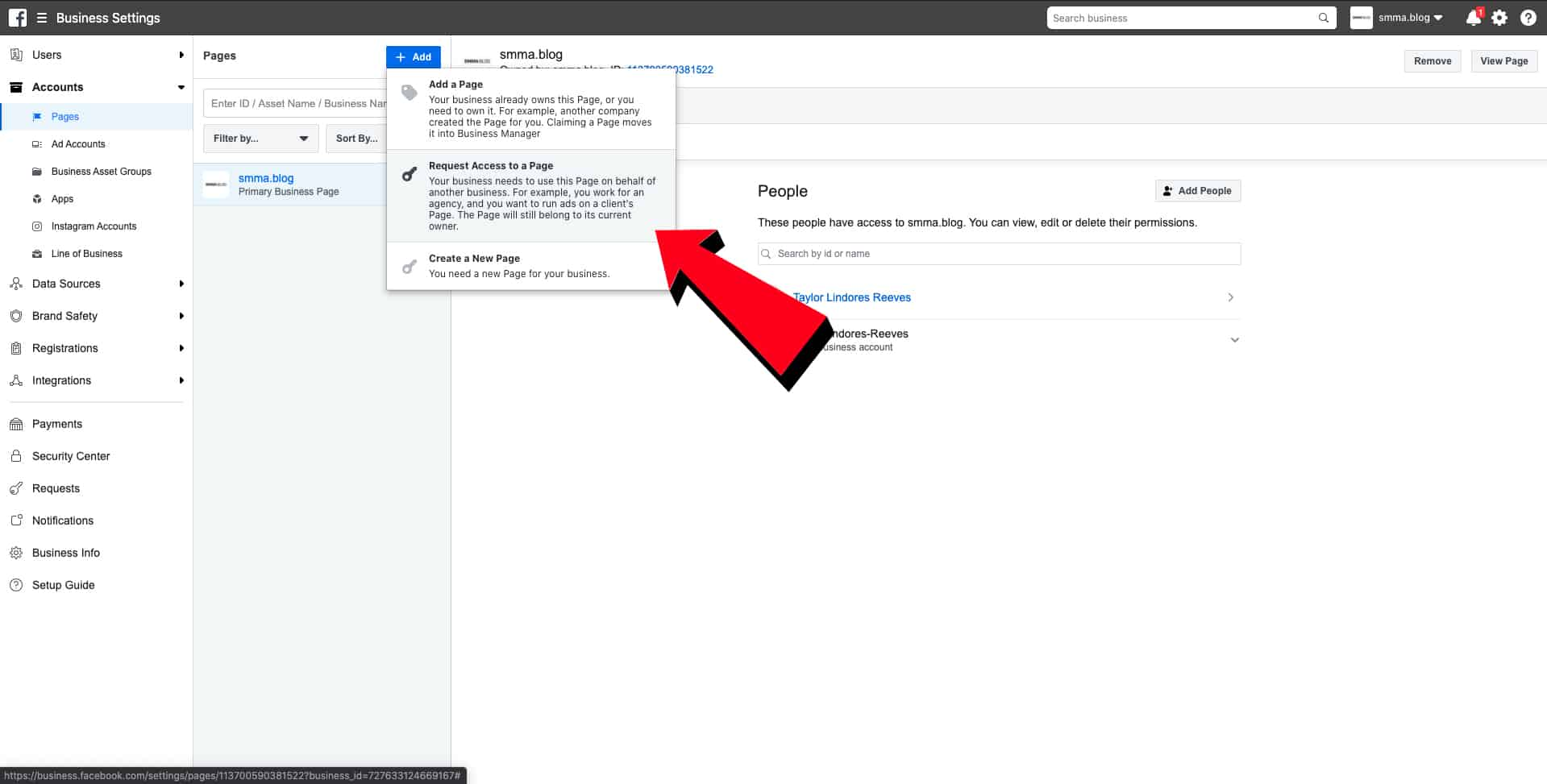 request access to page